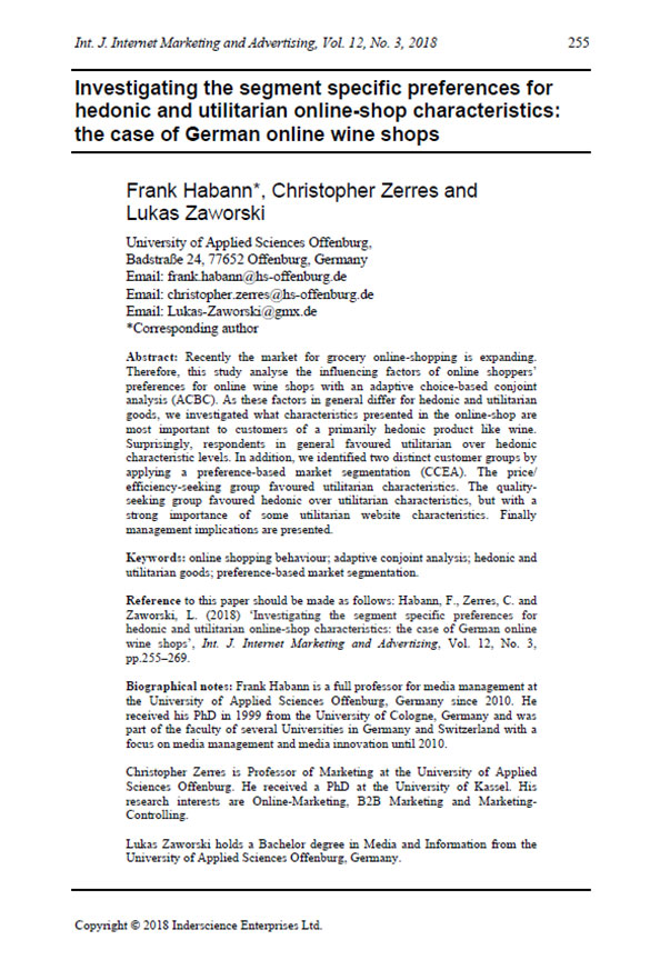 Prof. Dr. Christopher Zerres Papers