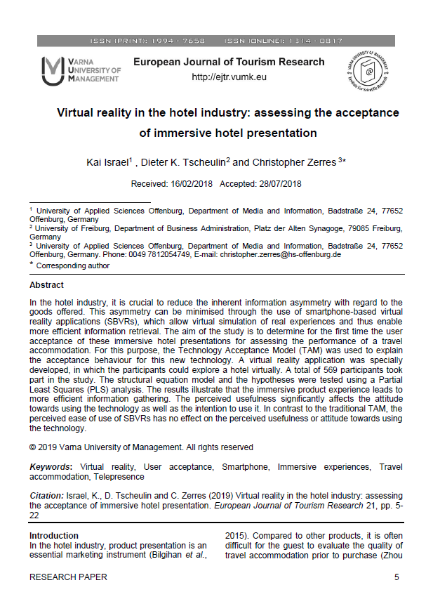 Prof. Dr. Christopher Zerres Buch Journal Beitrag VR in der Hotelindustrie